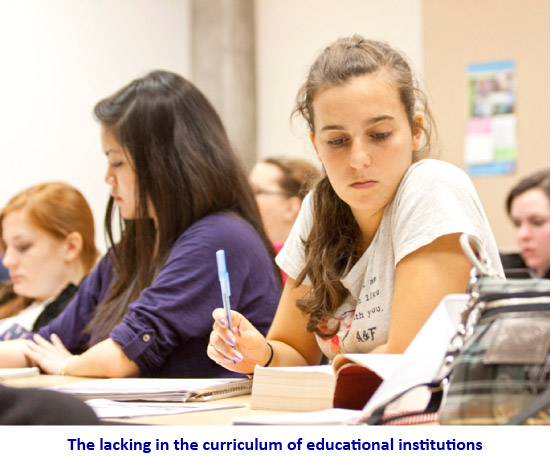 The lacking in the curriculum of educational institutions